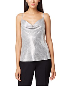 Metallic Cowlneck Top