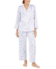 Petite Women's Brushed Back Printed Satin Pajama Set