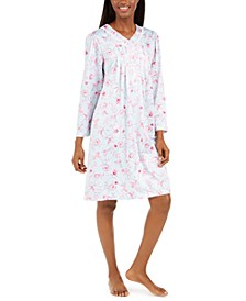 Women's Brushed Back Floral-Print Satin Nightgown