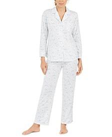Women's Floral-Print Knit Pajama Set