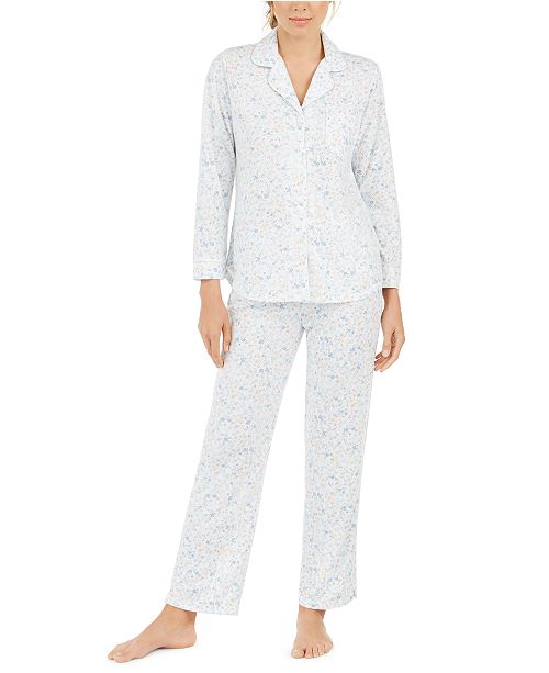 Miss Elaine Women's Floral-Print Knit Pajama Set