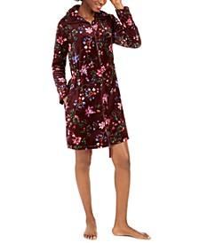 Women's Floral-Print Short Zipper Robe