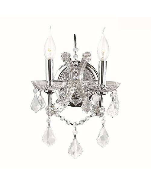 Worldwide Lighting Maria Theresa 2-Light Chrome Finish and Clear Crystal Candle Wall Sconce Light