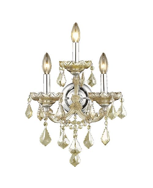 Worldwide Lighting Maria Theresa 3-Light Chrome Finish and Crystal Candle Wall Sconce Light