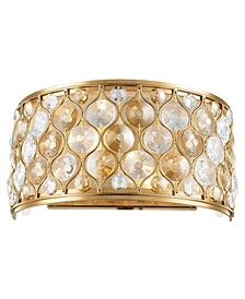 Paris 2-Light Matte Gold Tone Finish with Clear and Crystal Wall Sconce Light
