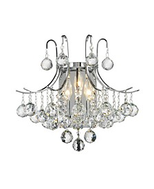 Empire 3-Light Chrome Finish and Clear Crystal Wall Sconce Light