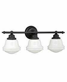 Huntley 3 Light Farmhouse Bathroom Vanity Wall Light Schoolhouse Glass