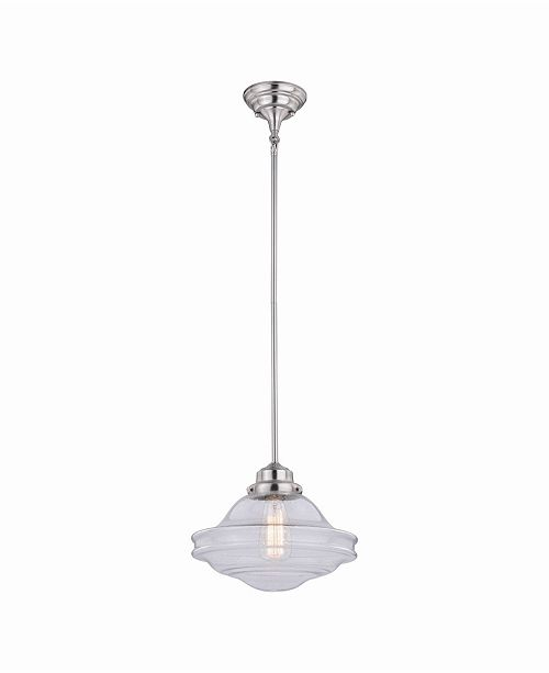 Vaxcel Huntley Satin Nickel Farmhouse Pendant Light Clear Glass