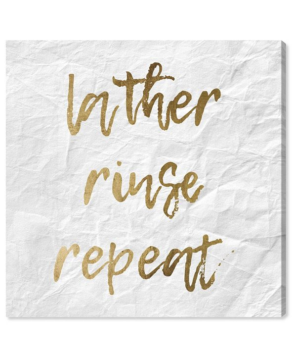 "Oliver Gal Lather Rinse Repeat Gold Canvas Art, 16"" x 16"""