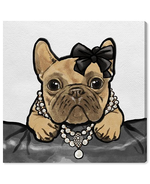 """Oliver Gal Glam Frenchie Canvas Art, 16"""" x 16"""""""