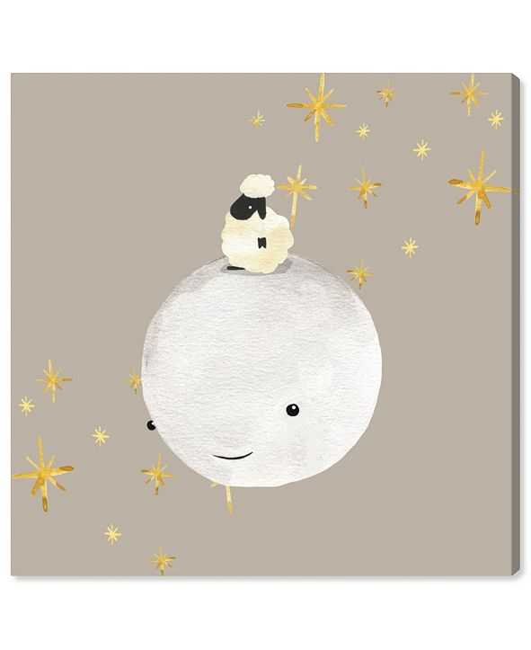 "Oliver Gal Sheep and Moon Best Friends Canvas Art, 12"" x 12"""