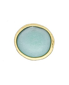 Turquoise Textured Charger Plate with gold tone Border