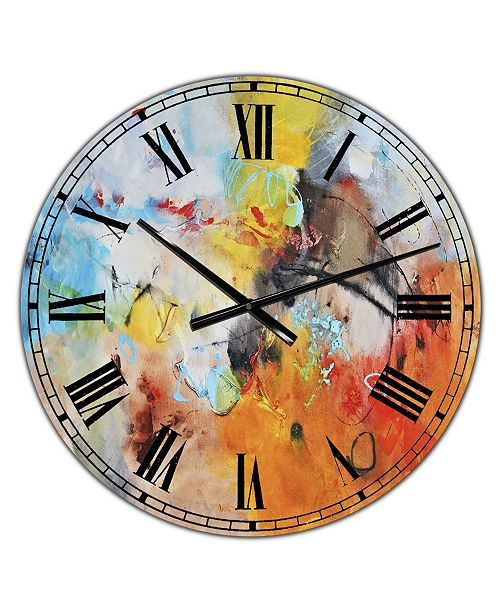 """Designart Blue and Yellow Color Spatters II Large Modern Wall Clock - 36"""" x 28"""" x 1"""""""
