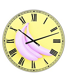 "Pink Banana Large Modern Wall Clock - 36"" x 28"" x 1"""