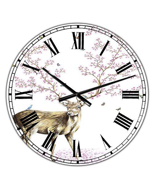 "Designart Cherry Blossom Deer Oversized Cottage Wall Clock - 36"" x 28"" x 1"""