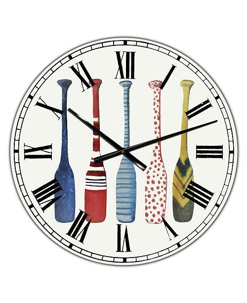 "Designart Five Paddles Oversized Lake House Wall Clock - 38"" x 38"" x 1"""