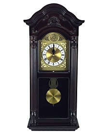 """Clock Collection 25.5"""" Chiming Wall Clock with Roman Numerals"""