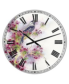 "Cherry Blossom Days Large Cottage Wall Clock - 38"" x 38"" x 1"""