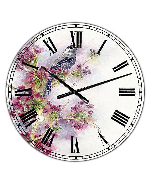 "Designart Cherry Blossom Days Large Cottage Wall Clock - 38"" x 38"" x 1"""