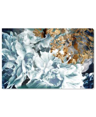 Dos Gardenias Light Turquoise Canvas Art, 24