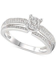 Diamond Fooler Engagement Ring (1/3 ct. t.w.) in Sterling Silver