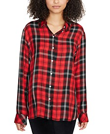 Life Of The Party Plaid Boyfriend Shirt