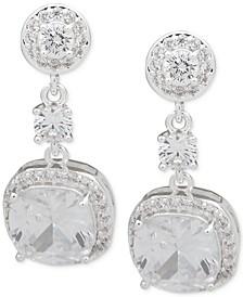 Silver-Tone Crystal Cushion-Cut Drop Earrings