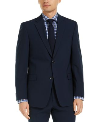 Men's Modern-Fit THFlex Stretch Navy Check Suit Jacket