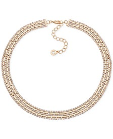 "Gold-Tone Pavé Collar Necklace, 16"" + 3"" extender"