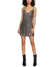 Rainbow Prism Faux-Wrap Mini Dress