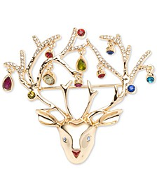 Gold-Tone Multicolor Crystal Bulbs Reindeer Pin