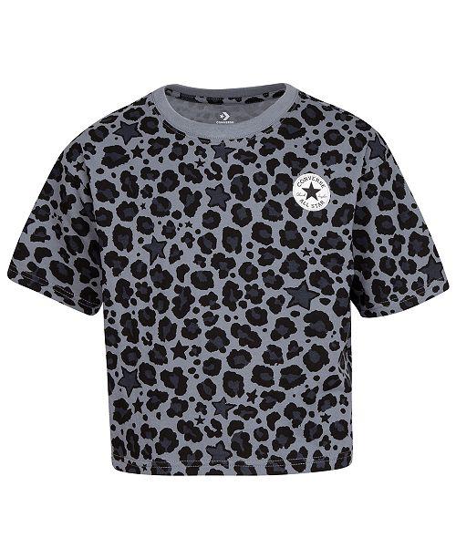 Converse Big Girls Cotton Leopard-Print T-Shirt