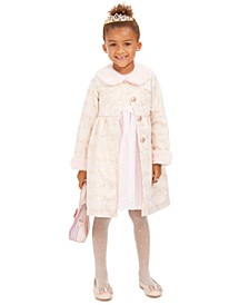 Little Girls 2-Pc. Faux-Fur-Trim Coat & Dress Set
