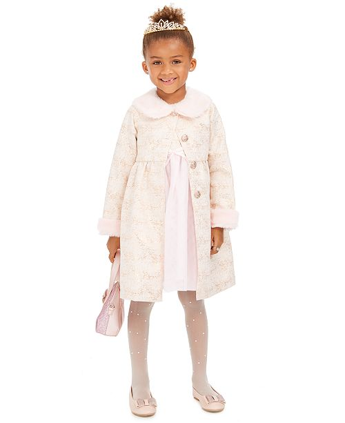 Blueberi Boulevard Little Girls 2-Pc. Faux-Fur-Trim Coat & Dress Set
