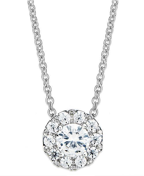 Macys diamond circle pendant necklace in 14k white gold 12 ct main image aloadofball Gallery