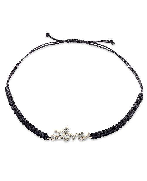 Macy's Diamond Love Parachute Cord Bracelet in (1/6 ct. t.w.)