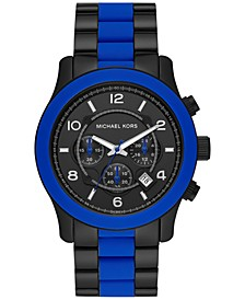 Men's Chronograph Runway Blue Silicone & Black Ion-Plated Stainless Steel Bracelet Watch 45mm
