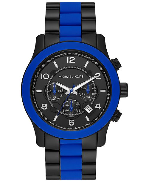 Michael Kors Men's Chronograph Runway Blue Silicone & Black Ion-Plated Stainless Steel Bracelet Watch 45mm