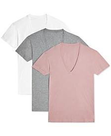 Men's Slim-Fit Deep V-Neck 3 Pack Undershirt