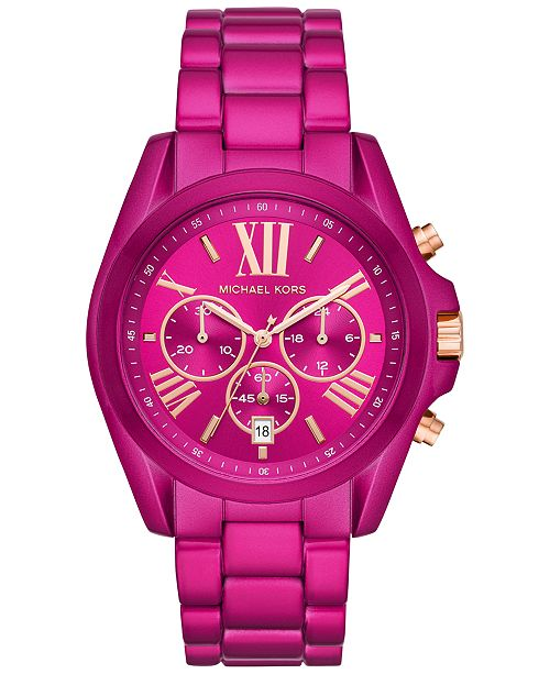 Michael Kors Women's Chronograph Bradshaw Electric Pink Stainless Steel Bracelet Watch 43mm