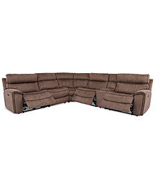 Hutchenson 6-Pc. Fabric Sectional with 3 Power Recliners, Power Headrests and Console with USB
