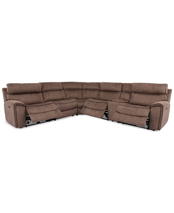 Furniture Hutchenson 6-Pc. Fabric Sectional with 3 Power Recliners, Power Headrests and Console with USB