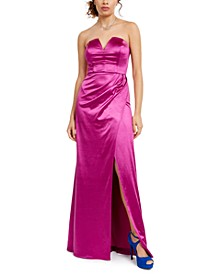 Juniors' Strapless Satin Slit Gown