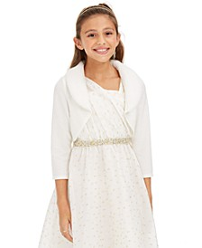 Big Girls Faux-Fur-Trim Cardigan & One-Shoulder Dress