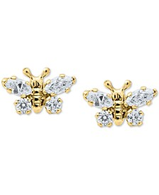 Children's Cubic Zirconia Butterfly Earrings in 14k Gold