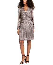 V-Neck Metallic-Stripe Knit Dress