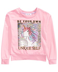Big Girls Flip Sequin Unique Self Unicorn Top