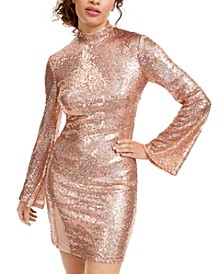 Juniors' Mock-Neck Sequined Dress