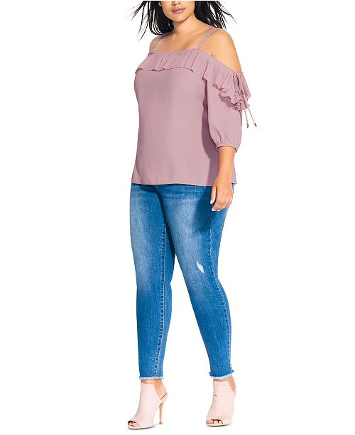 City Chic Trendy Plus Size Pleated Frill Top