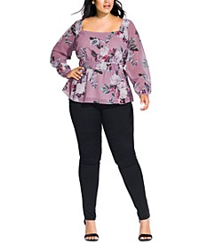 Trendy Plus Size Rosewood Floral Top